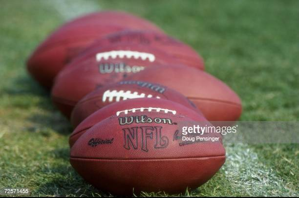 General view of footballs lined up for use during the 1998 Baltimore Ravens Training Camp at the Western Maryland College in Westminster, Maryland.