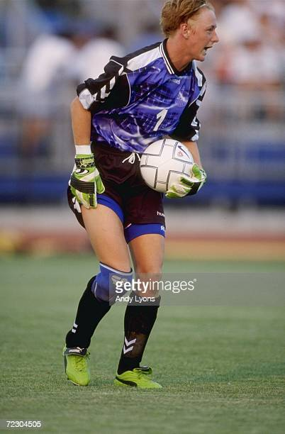 Goalie Dorthe Larsen of Team Denmark with the ball during a womens soccer match of the Goodwill Games against Team Norway at the Mitchel Athletic...