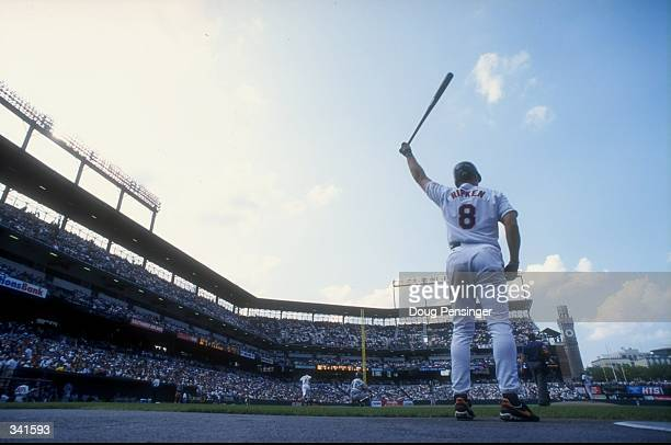 Infielder Cal Ripken Jr #8 of the Baltimore Orioles in action during a game against the Seattle Mariners at the Camden Yards in Baltimore Maryland...
