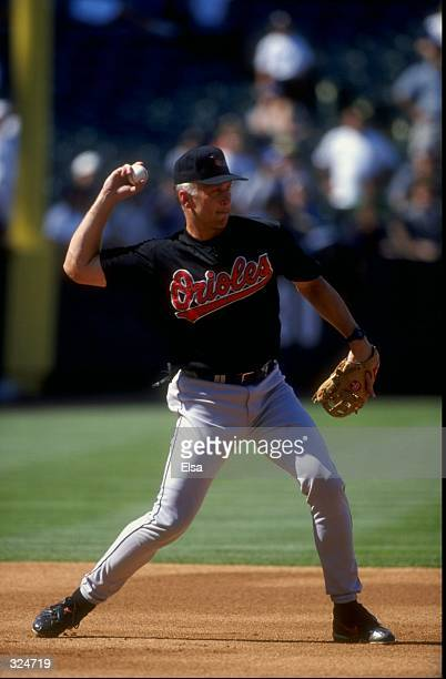 Infielder Cal Ripken of the Baltimore Orioles in action during the game against the Anaheim Angels at Edison Field in Anaheim California The Orioles...