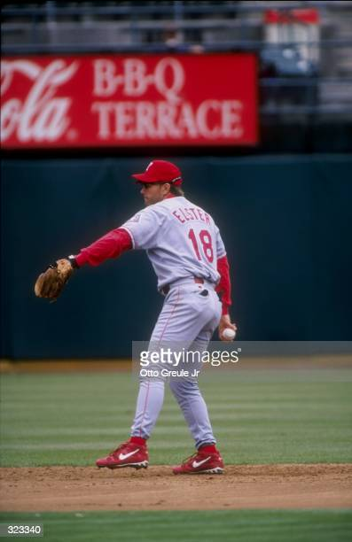 Infielder Kevin Elster of the Texas Rangers in action during a game against the Oakland Athletics at the Oakland Coliseum in Oakland California The...