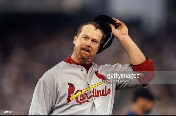 Infielder Mark McGwire of the St Louis Cardinals looks on during a game against the San Diego Padres at the Qualcomm Park in San Diego California The...