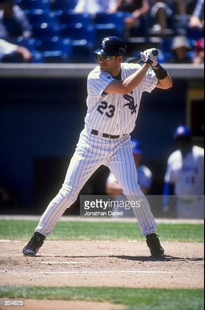Infielder Robin Ventura of the Chicago White Sox in action at the plate during the game against the Toronto Blue Jays at Comiskey Park in Chicago...