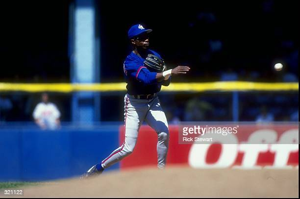 Infielder Tony Fernandez of the Toronto Blue Jays in action during a game against the Detroit Tigers at Tiger Stadium in Detroit Michigan The Blue...