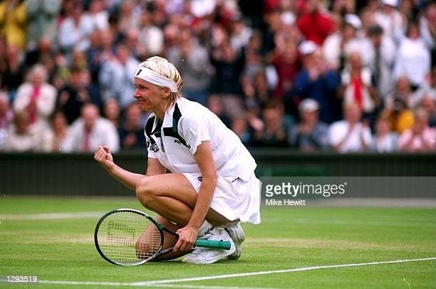Jana Novotna of Czech Republic celebrates her victory during the 1998 Wimbledon Championships played at Wimbledon, London, England. \ Mandatory...