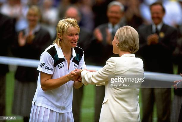 Jana Novotna of the Czech Republic is congratulated on her victory after the 1998 Wimbledon Championships played at Wimbledon, London, England. \...
