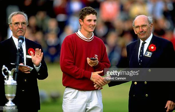Leading amateur Justin Rose of England receives the silver medal after the British Open at Royal Birkdale Golf Club in Lancashire England Mandatory...
