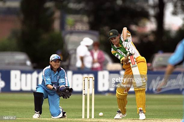 Lisa Keightley of Australia bats while Jane Cassar of England keeps wicket during the Womens Second One Day match at the County Ground in Derby...