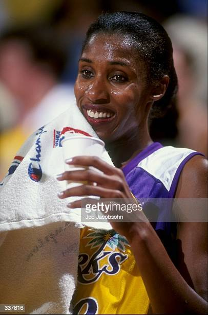 Lisa Leslie of the Los Angeles Sparks looks on during a game against the Utah Starzz at the Great Western Forum in Inglewood, California. The Starzz...