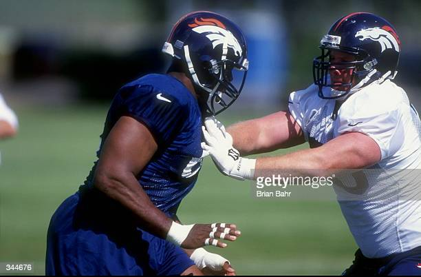 Offensive tackle Trey Teague of the Denver Broncos in action during the 1998 Denver Broncos training camp at the University of Northern Colorado in...