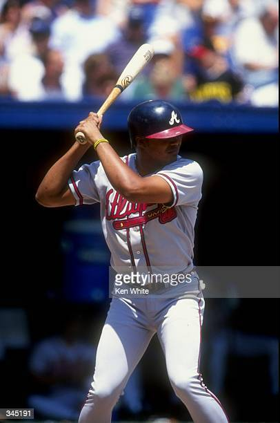 Outfielder Andruw Jones of the Atlanta Braves in action during a game against the Pittsburgh Pirates at the Three Rivers Stadium in Pittsburgh...