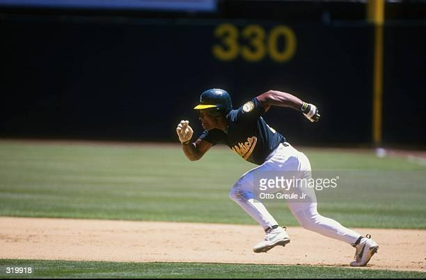 Outfielder Rickey Henderson of the Oakland Athletics in action during a game against the Anaheim Angels at the Oakland Coliseum in Oakland California...