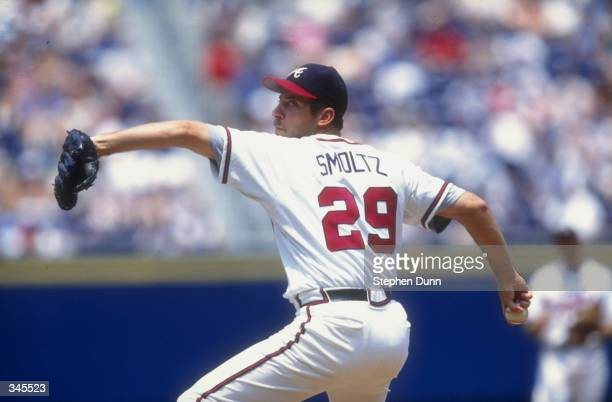 Pitcher John Smoltz of the Atlanta Braves in action during a game against the Milwaukee Brewers at Turner Field in Atlanta Georgia The Braves...