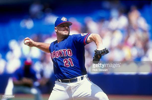 Pitcher Roger Clemens of the Toronto Blue Jays throws the 3000th strike out during the game agains the Tampa Bay Devil Rays at the Sky Dome in...