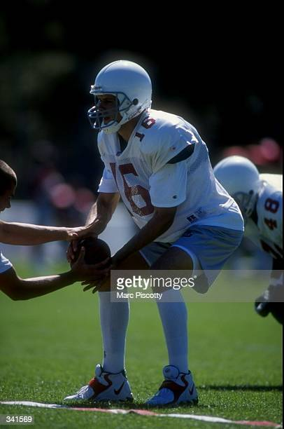 Quarterback Jake Plummer of the Arizona Cardinals in action during the 1998 Arizona Cardinals training camp at the Northern Arizona University in...