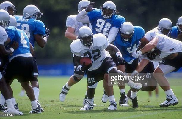 Running back Marquette Smith of the Carolina Panthers in action during the Carolina Panthers training camp at Wofford College in Spartanburg, South...