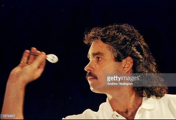 Steve Beaton in action during the PDC World Matchplay Darts tournament in Blackpool England Mandatory Credit Andrew Redington/Allsport