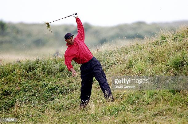 Tiger Woods of the USA plays out of the rough during the British Open at Royal Birkdale Golf Club in Lancashire, England. \ Mandatory Credit: David...