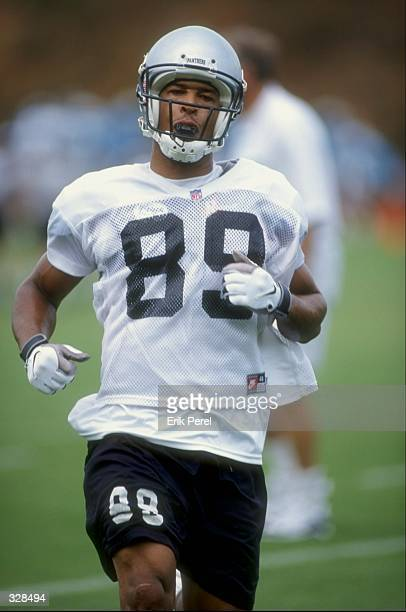 Wide receiver Rae Carruth of the Carolina Panthers in action during the 1998 Carolina Panthers Training Camp at the Wofford College in Spartanburg...