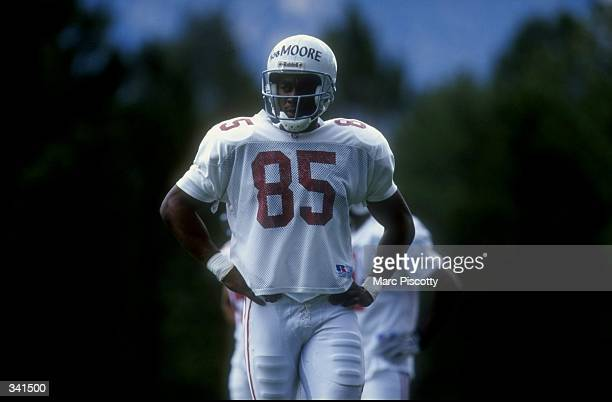 Wide receiver Rob Moore of the Arizona Cardinals looks on during the 1998 Arizona Cardinals training camp at the Northern Arizona University in...