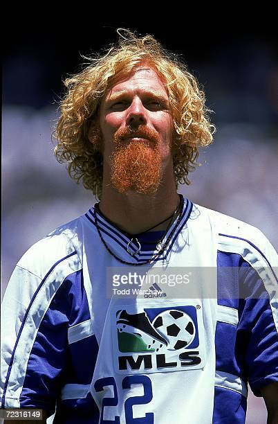 Close up of Alexi Lalas of the West Team as he stands on the field before the MLS All-Star Game against the East Team at the Qualcomm Stadium in San...