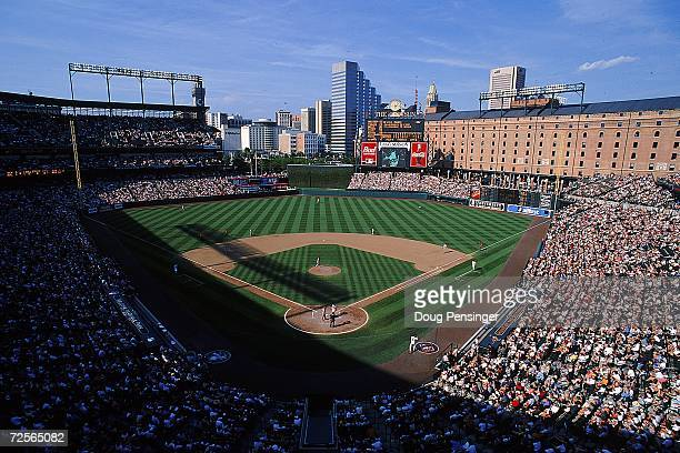 A general view of the stadium during the game against the Texas Rangers and the Baltimore Orioles at Camden Yards in Baltimore Maryland The Rangers...