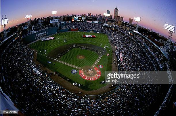 An aerial view of the Fenway Park at dusk taken during the 1999 MLB All-Star Game between the National League Team and the American League Team at...