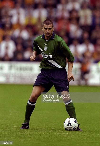 Dominic Matteo of Liverpool on the ball in the pre-season friendly against Wolverhampton Wanderers at Molineux in Wolverhampton, England. Liverpool...