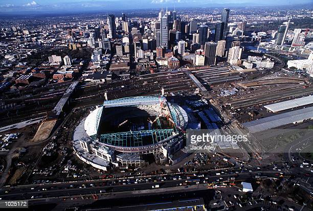 General view of Colonial Stadium under contruction at the Docklands in Melbourne Australia Mandatory Credit Jack Atley/ALLSPORT