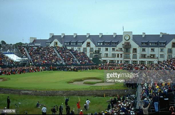 Jean Van De Velde of France plays a shot into the burn on the 18th hole during the British Open played at the Carnoustie GC in Carnoustie Scotland...