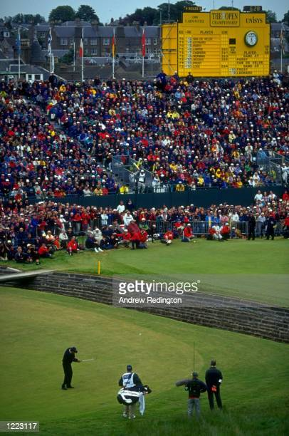 Justin Leonard of the USA plays his fourth shot into the during the British Open played at the Carnoustie GC in Carnoustie Scotland Mandatory Credit...