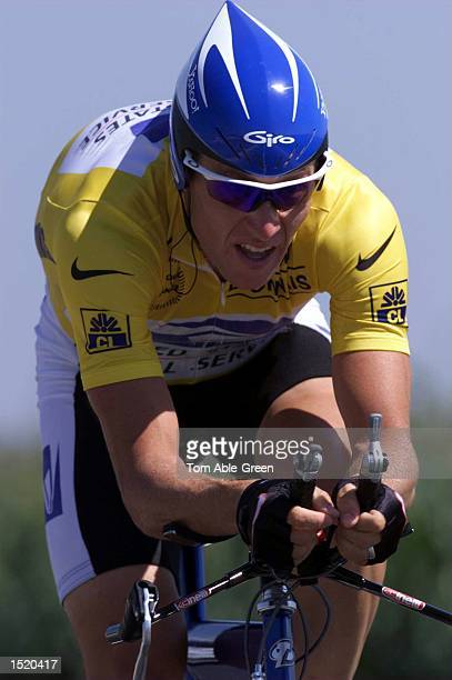Lance Armstrong of the USA and the US Postal in action during the TimeTrial in Stage 19 held at Futuroscope in the 1999 Tour De France Mandatory...