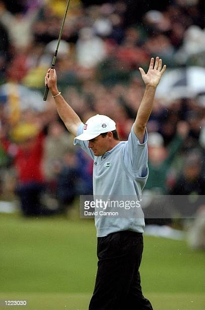 Paul Lawrie of Scotland celebrates winnning the British Open played at the Carnoustie GC in Carnoustie Scotland Mandatory Credit David Cannon...