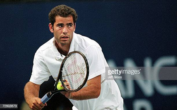 Pete Sampras gets ready to serve during the Mercedes- Benz Cup against Sebastien Lareau at the UCLA Tennis Courts in Westwood, California. Sampras...