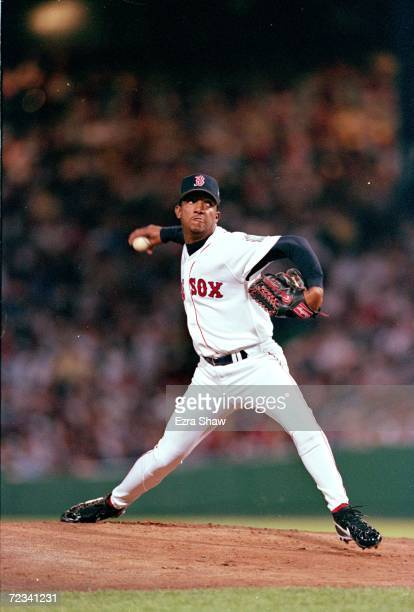 Picher Pedro Martinez of the American League Team winds up for the pitch during the 1999 MLB AllStar Game against the National League Team at Fenway...