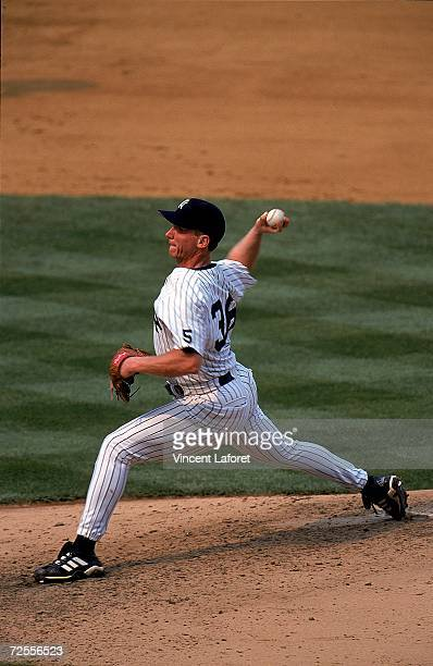 Pitcher David Cone of the New York Yankees throws the ball during the game against the Montreal Expos at Yankee Stadium in Bronx New York The Yankees...