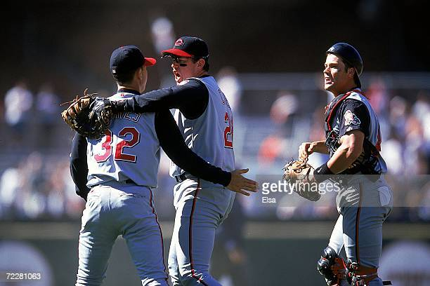 Sean Casey of the Cincinnati Reds celebrates with teammate Danny Graves during the game against the San Francisco Giants at the 3Com Park in San...