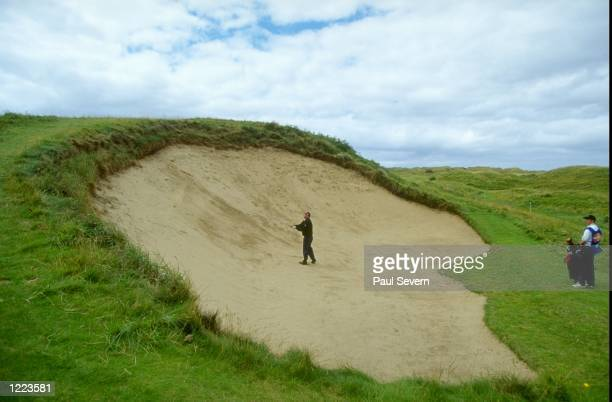 The huge bunker on the 17th hole at the British Senior Open at Royal Portrush Golf Club in Northern Ireland. \ Mandatory Credit: Paul Severn /Allsport