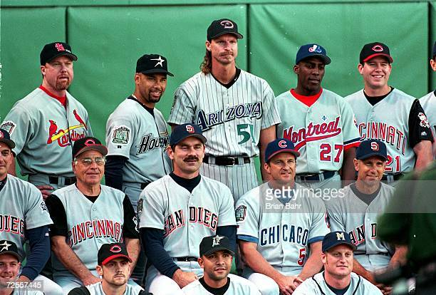 The National League Team poses for a picture before the 1999 MLB All-Star Game against the American League Team at Fenway Park in Boston,...