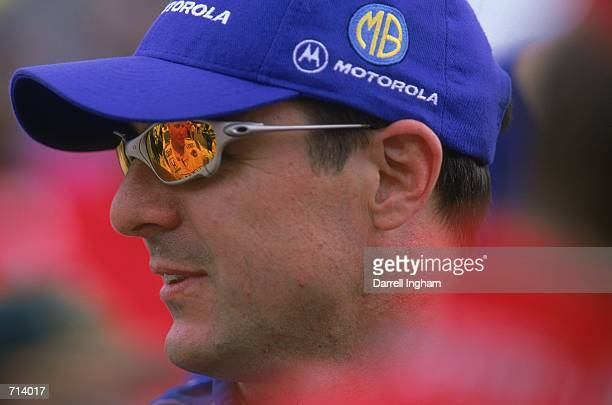 A close up of Driver Mark Blundell of Great Britain who drives the Mercedes Reynard 2KI for PacWest Racing is looking on during the Target Grand Prix...