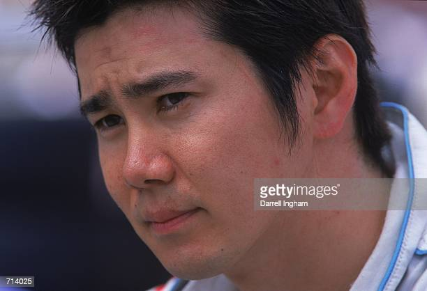 A close up of Driver Shinji Nakano of Japan who drives the Honda Reynard 2KI for Walker Racing is looking on during the Target Grand Prix part of the...