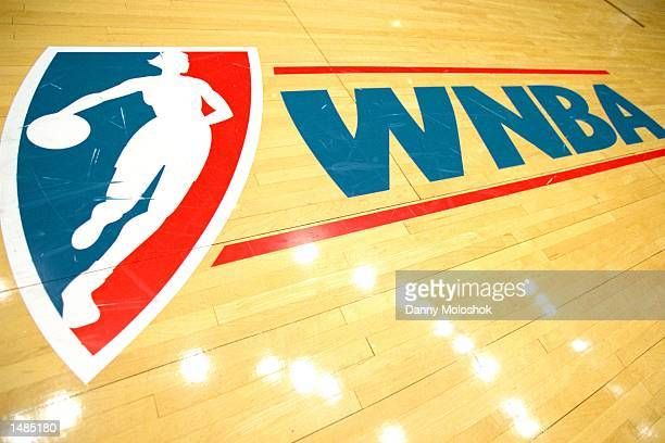 View of the court WNBA Logo taken before a game between the Los Angeles Sparks and the Detroit Shock at the Great Western Forum in Inglewood,...