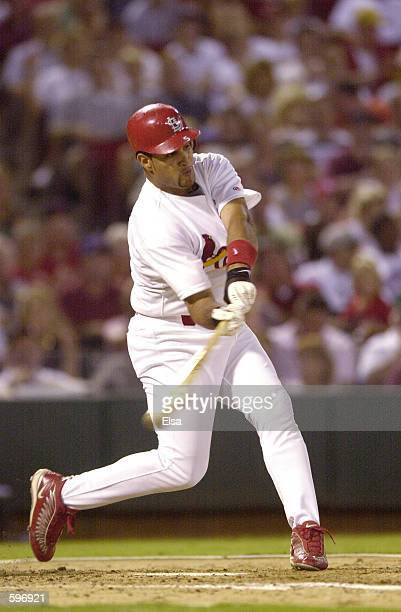 Albert Pujols of the St Louis Cardinals takes a swing during the game against the Atlanta Braves at Busch Stadium in St Louis Missouri The Cardinals...