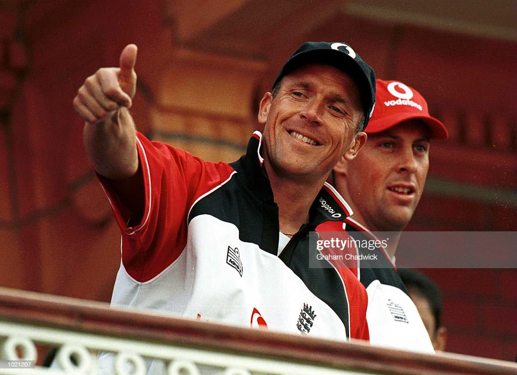 Alec Stewart of England gives the fans the thumbs up after their victory over Zimbabwe in the Final of the NatWest Triangular series at Lord's, London . Mandatory Credit: Graham Chadwick/ALLSPORT