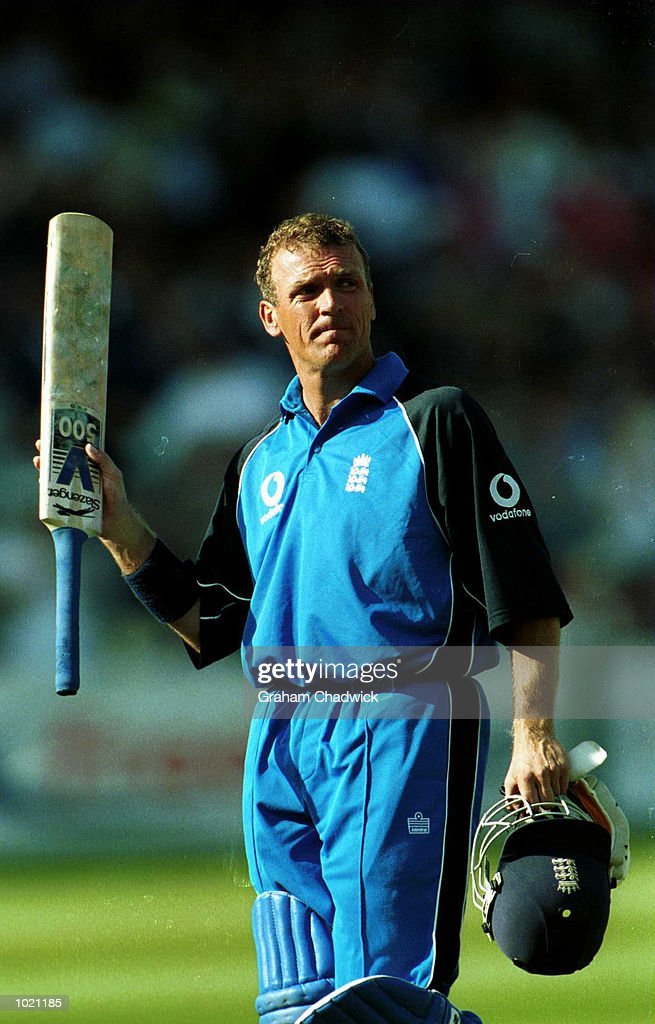Alec Stewart of England salutes the crowd after losing his wicket to Heath Streak of Zimbabwe caught behind by Andy Flower during the match between England and Zimbabwe in the Final of the NatWest Triangular series at Lord's, London . Mandatory Credit: Graham Chadwick/ALLSPORT