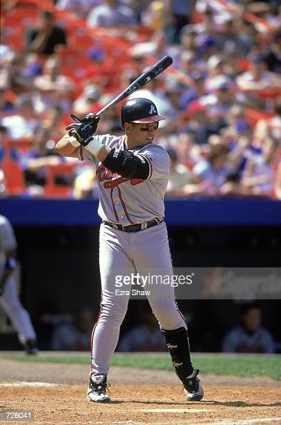 Andres Galarraga of the Atlanta Braves is at bat during the game against the New York Mets at Shea Stadium in Flushing New York The Mets defeated the...