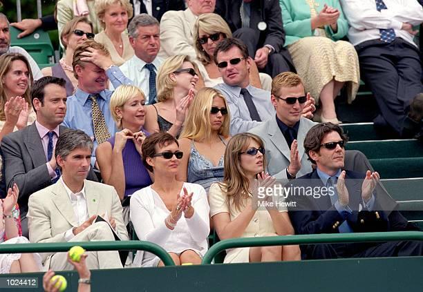 Celebrity spectators, including Ernie Els, Nick Faldo, Tania Bryer, Anna Kournikova, Sergei Fedorov, Damon Hill, Georgie Hill, Liz Hurley and David...