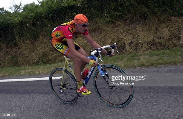 Christophe Agnolutto of Italy and the AG2R Prevoyance team rides alone to win Stage 7 between Tours Limoges during the Tour De France France...
