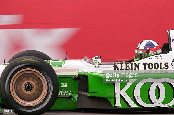 Dario Franchitti of Great Britain who drives a Honda Reynard 2KI for Team KOOL Green goes by during the Target Grand Prix of Chicago part of the CART...