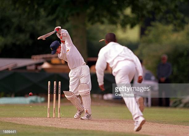 David Irvine of Zimbabwe is bowled by Dipha of South Africa